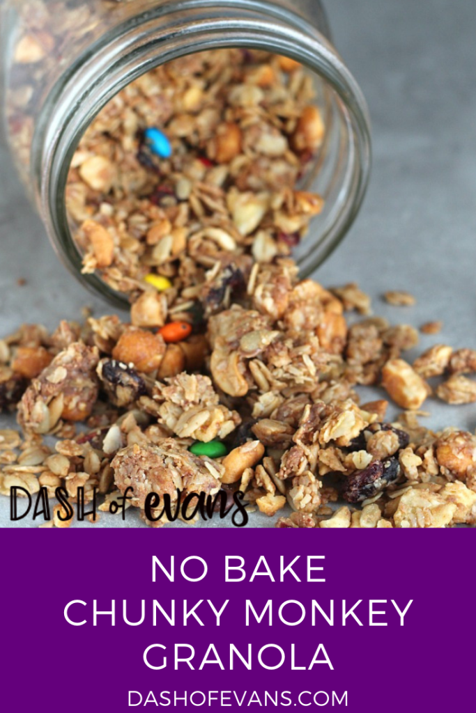 Looking for a fun way to switch up your granola? Try this Chunky Monkey trail mix version: dried bananas, peanut butter, raisins and more! YUM! via @dashofevans