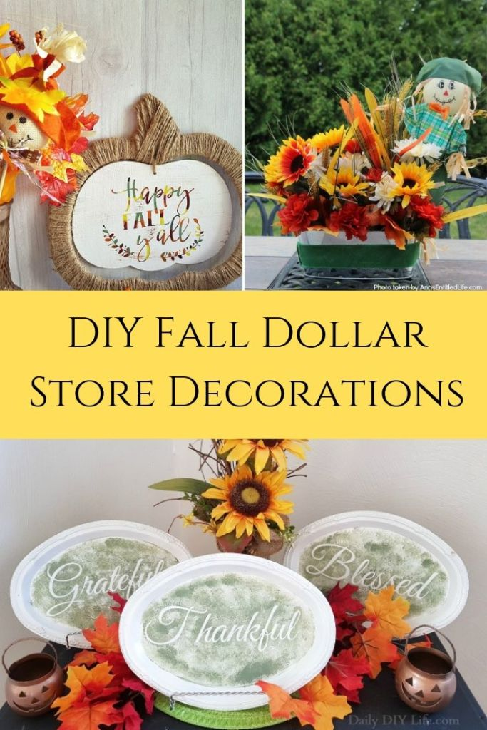 Who loves the Dollar Store? We find the best decorations for the home! Check out these easy DIY Dollar Store Fall craft ideas! via @DashOfEvans