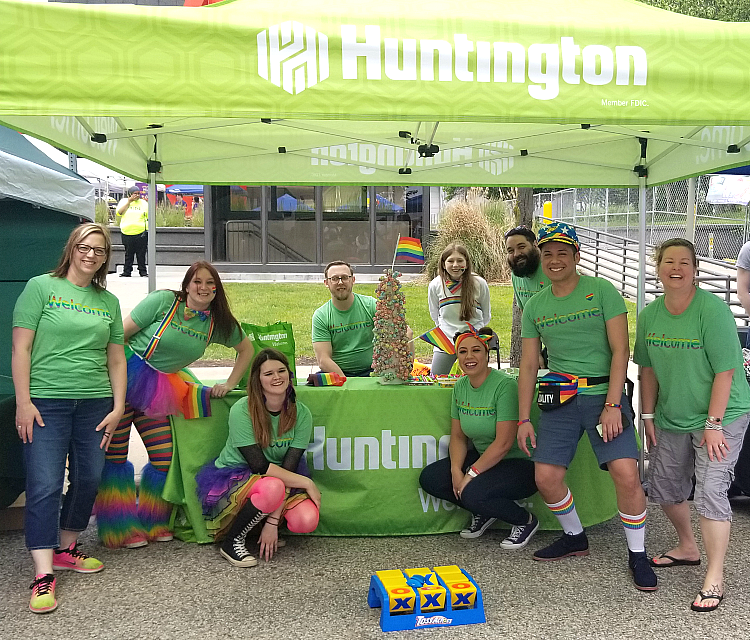 Huntington Bank at Grand Rapids's Pride fest in 2019. #HNBGoalGetters