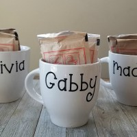 Easy Cricut idea for beginners: mugs! These are Dollar Tree mugs with a fun personalization on the back. via @DashOfEvans
