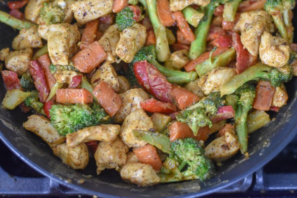 Chicken & Veggie Stir Fry with Special Peanut Butter Sauce