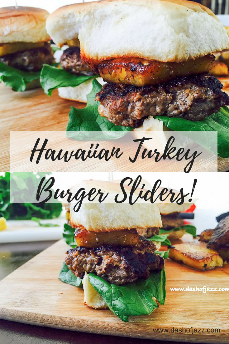 Hawaiian Turkey Burger Sliders = Juicy turkey patties, tender lettuce, and grilled ginger pineapple sandwiched between King's Hawaiian rolls. Perfect for game day, luau parties, and summer entertaining! Recipe by Dash of Jazz