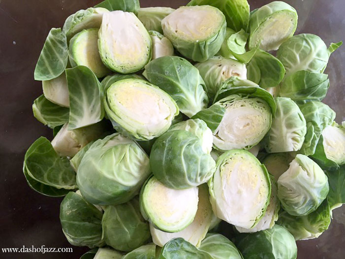 brussels sprouts cut in halves