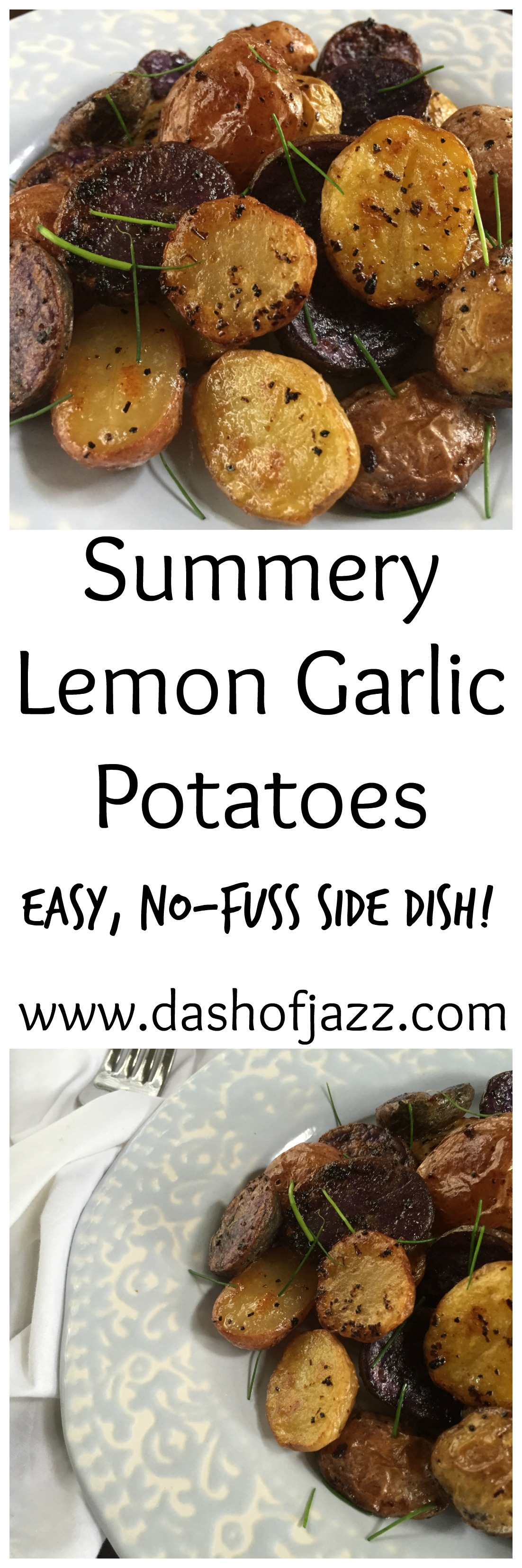 Summery Lemon Garlic Potatoes are a bright and delicious, no-fuss side dish perfect for summer! by Dash of Jazz
