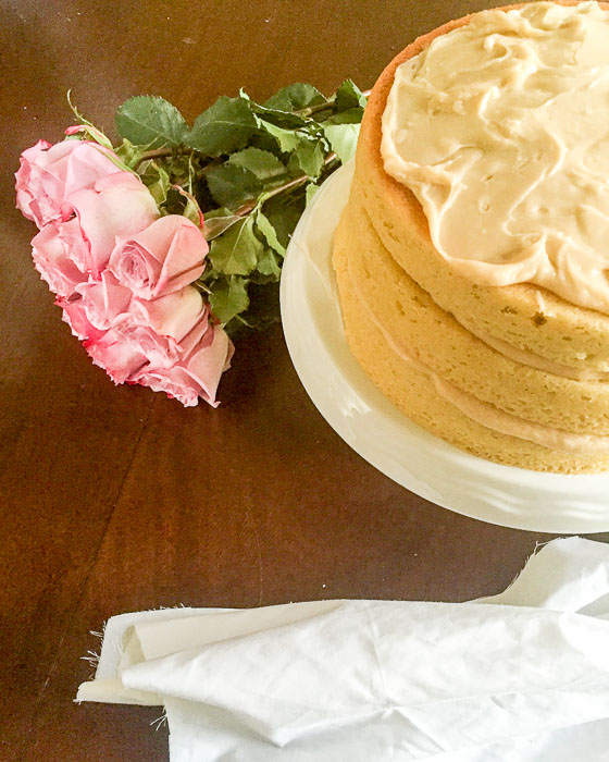 Brown Butter Vanilla Birthday Cake with Salted Caramel Frosting