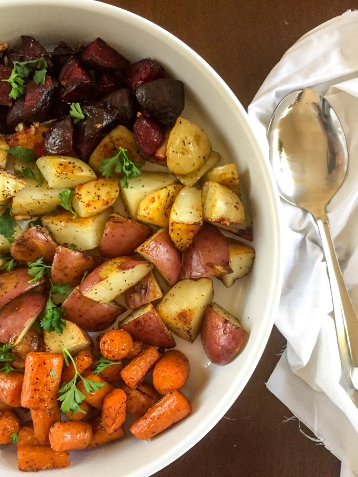 rainbow of roasted beets, potatoes, and carrots