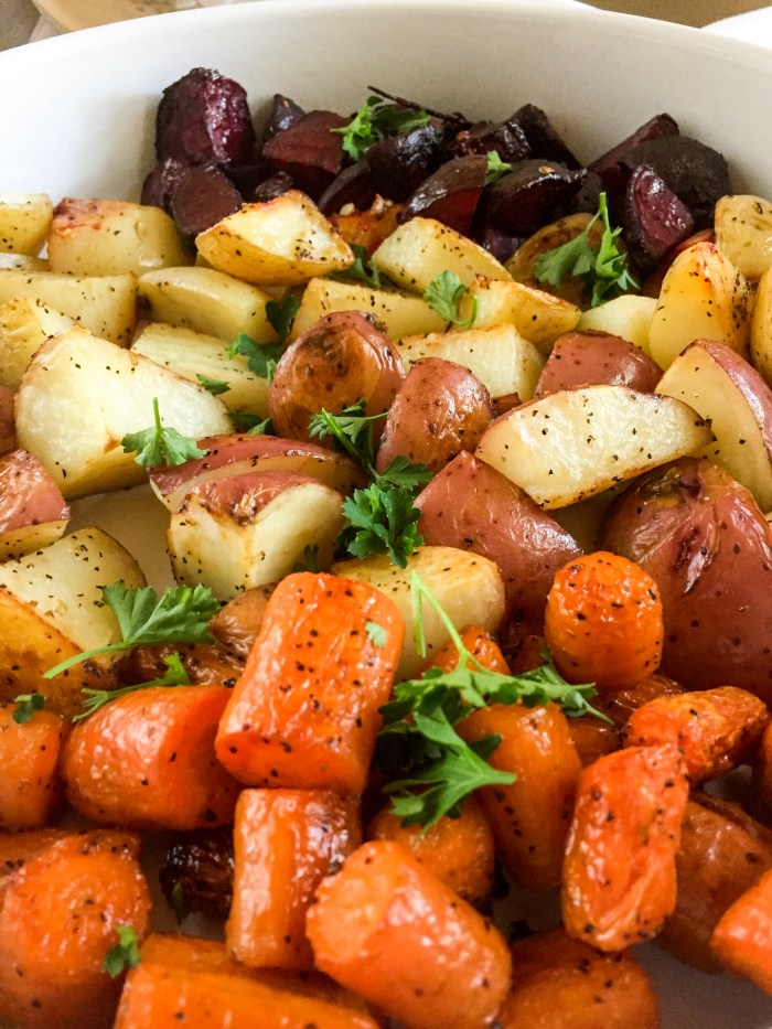 roasted carrots, potatoes, and beets with parsley