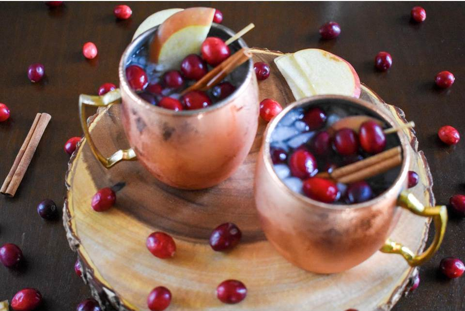 Cranberry Apple Spice Mules for Thanksgiving