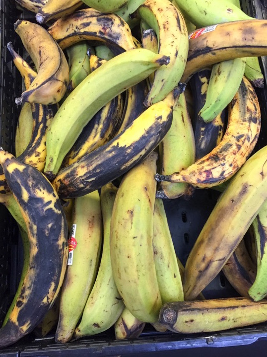 fresh plantain in a bin at grocery store