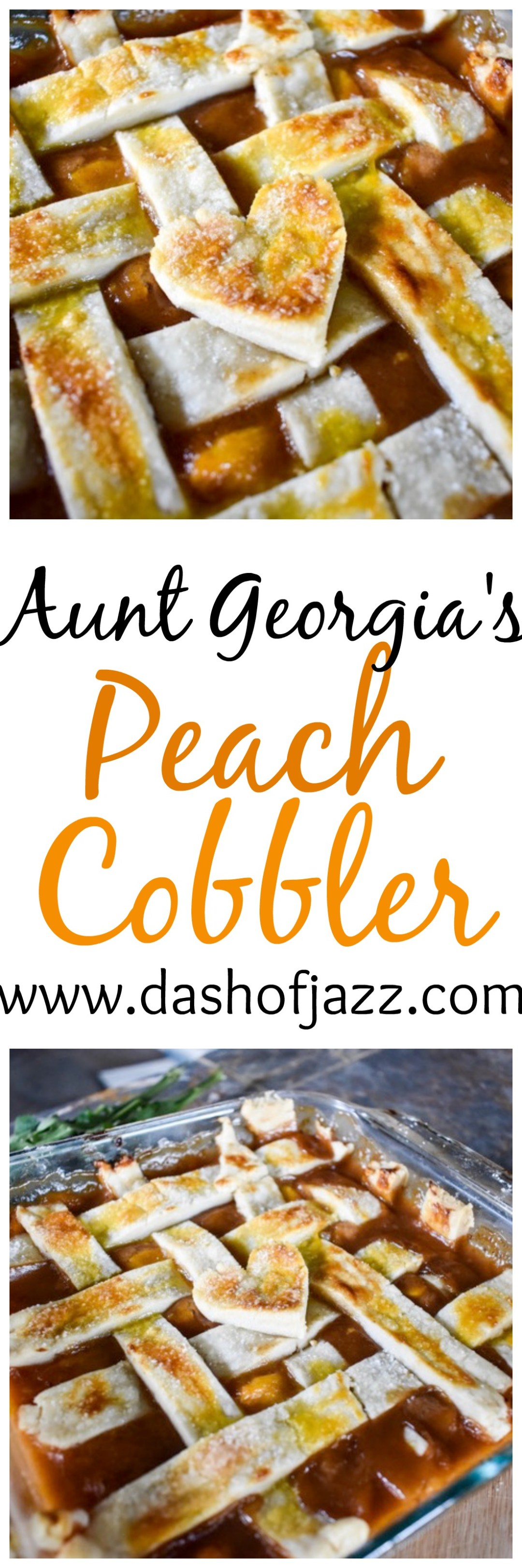 Aunt Georgia\'s Peach Cobbler is an ooey-gooey Southern classic dessert passed down through four generations of black girl magic. Recipe by Dash of Jazz