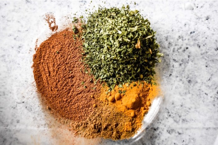 Moroccan spices in a glass bowl.