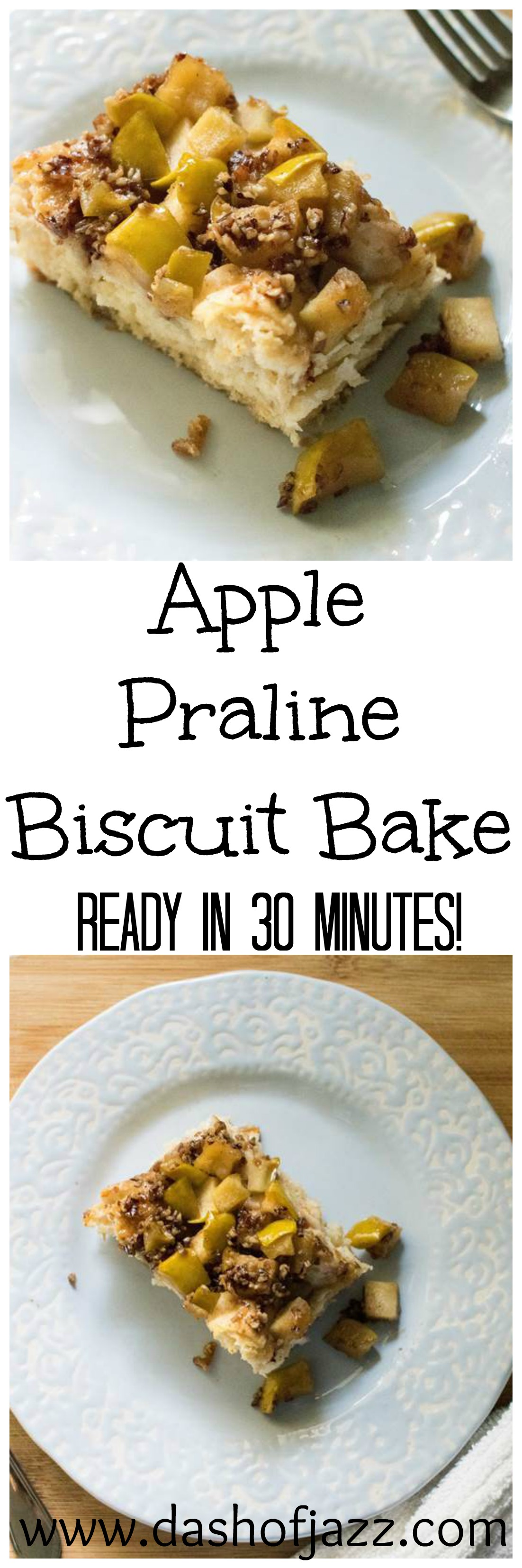 This Apple Praline Biscuit Bake is an easy, all-in-one brunch dish ready in about 30 minutes! It's simple, sweet, and definitely Southern. Recipe by Dash of Jazz