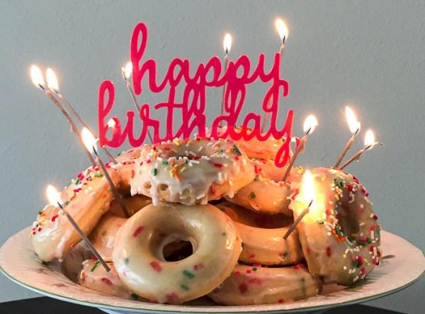Image result for doughnut birthday cake