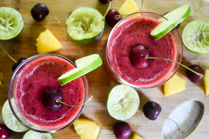 2-Minute Frozen Cherry Pineapple Margaritas