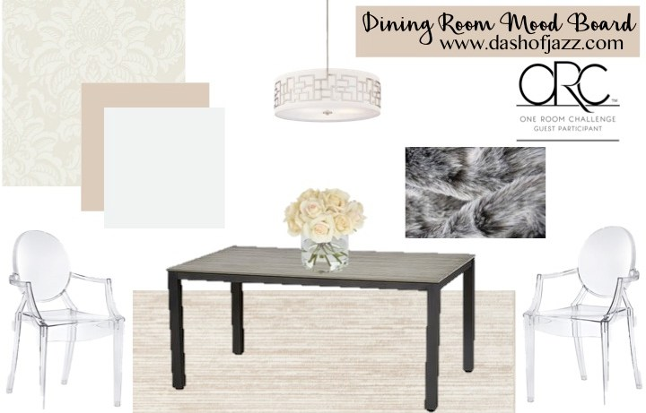 This dining room mood board is the visual plan for a modern, feminine room using affordable furniture and fixtures as part of the One Room Challenge. by Dash of Jazz