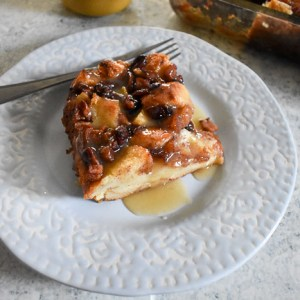 Nutty Apple Cranberry Bread Pudding with Maple Vanilla Cream Sauce