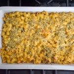 full pan of brown butter roasted garlic mac & cheese