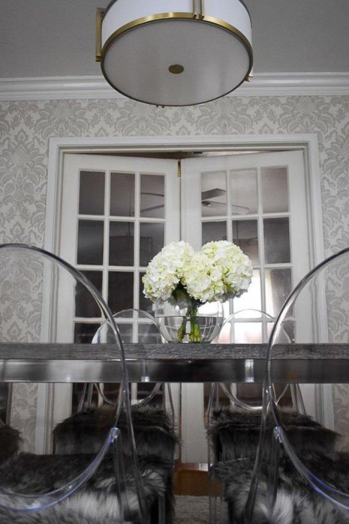 statement drum pendant light fixture in dining room reveal