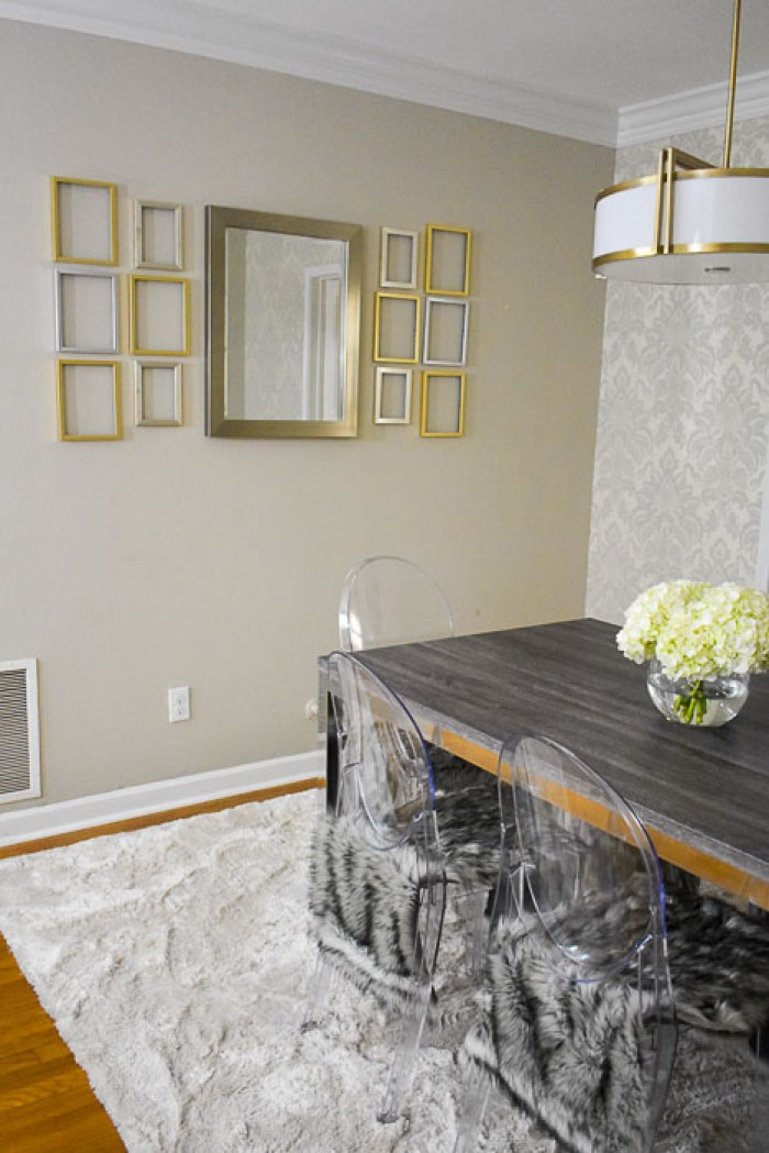 empty frame gallery wall in a finished dining room reveal