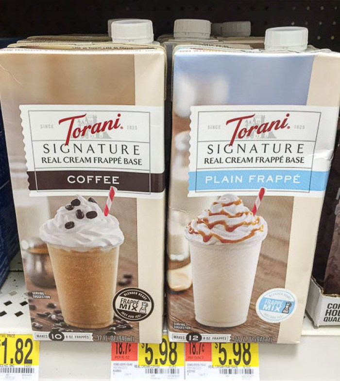 Torani real cream frappe base for frozen peppermint hot cocoa frappes by Dash of Jazz