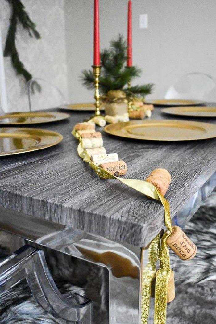 wine cork garland draped across dining room table