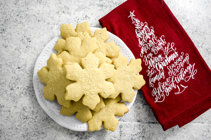 decorated tahini sugar cookies on a plate