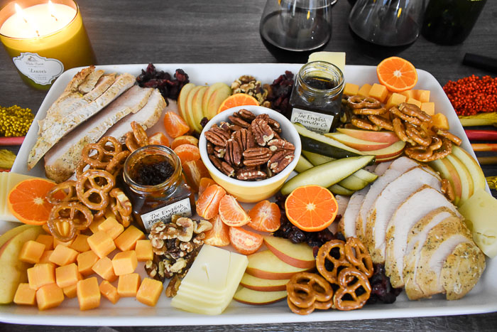 closeup of a festive thanksgiving appetizer board