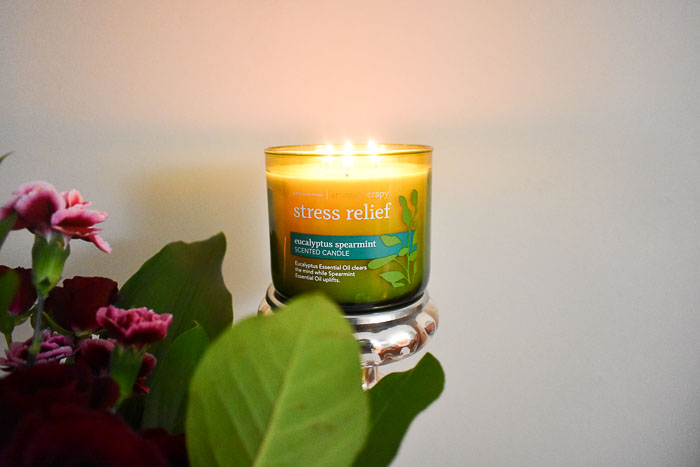 lit stress relief candle