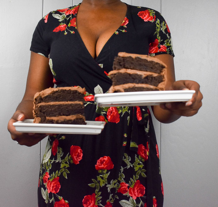 Dash of Jazz holding red wine chocolate cake for two