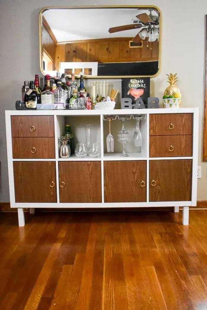 finished customized home bar cabinet made from an IKEA Kallax shelf