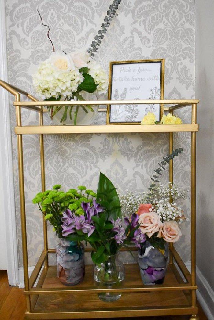 DIY spring flower bar on a gold bar cart