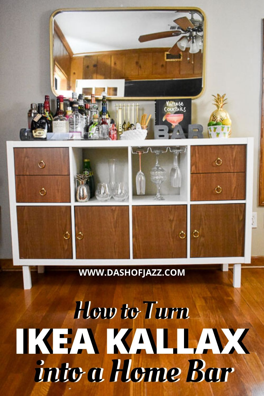 "DIY home bar with text overlay ""how to turn IKEA Kallax into a home bar"""