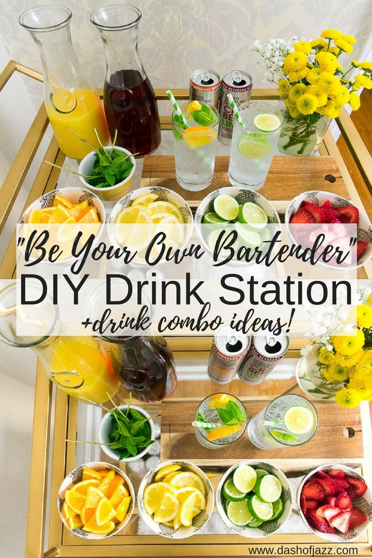 Easy tips for creating a DIY drink station at your next gathering + delicious combination ideas using Smirnoff spiked sparkling seltzers, fresh fruit, herbs, and juices. By Dash of Jazz