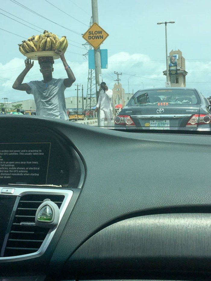 fresh plantain for sale along Lekki Expressway, Lagos, Nigeria