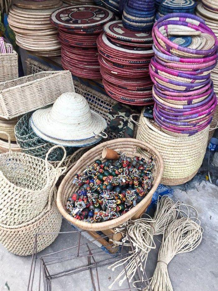 woven goods for sale at Lekki Market, Lagos, Nigeria