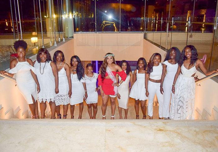 black bride and bridesmaid squad on bachelorette night