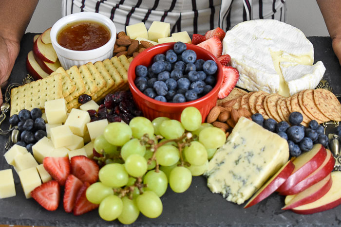 close up of red, white & blue cheese board