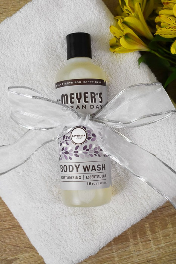 Mrs. Meyer's Lavender Body Wash wrapped in silver ribbon