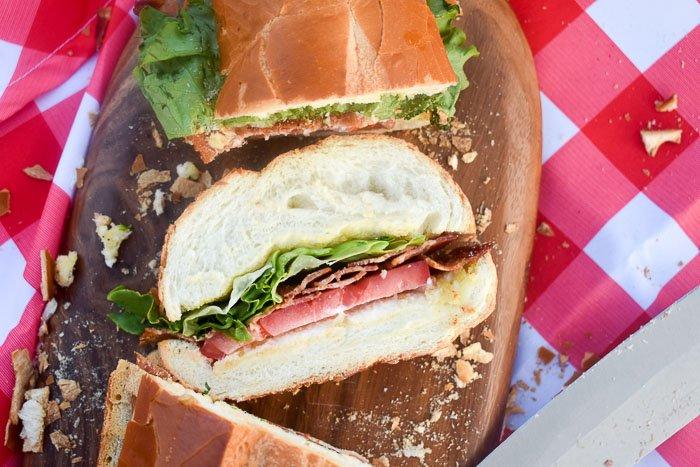 BLT sub sandwich slice