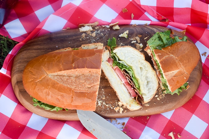 sliced BLT sub sandwich