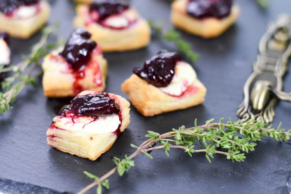 Goat Cheese Cherry Appetizer Bites on Puff Pastry