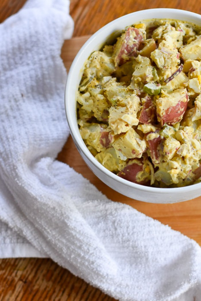 bowl of finished southern potato salad