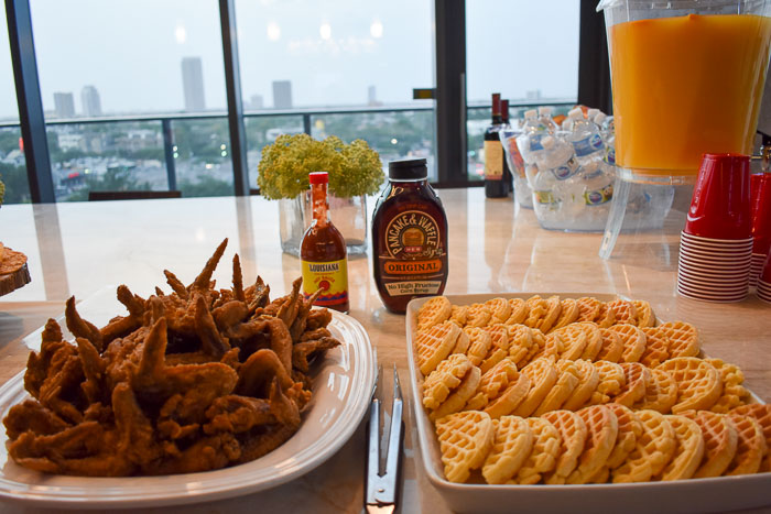 chicken and waffles spread for a party