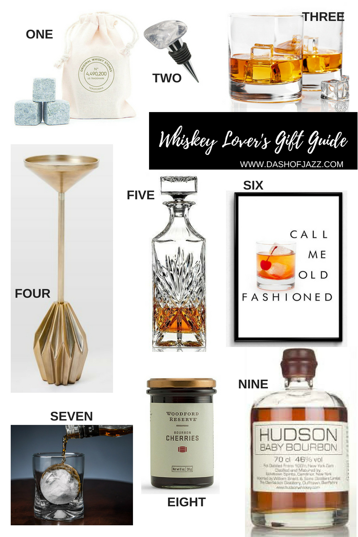 A roundup of inspired gifts for the whiskey fan in your life. These are great for a birthday, man cave, housewarming, the holidays or just because. Gift guide by Dash of Jazz