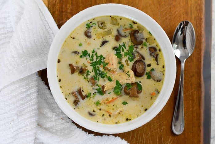 bowl of chicken & mushroom soup