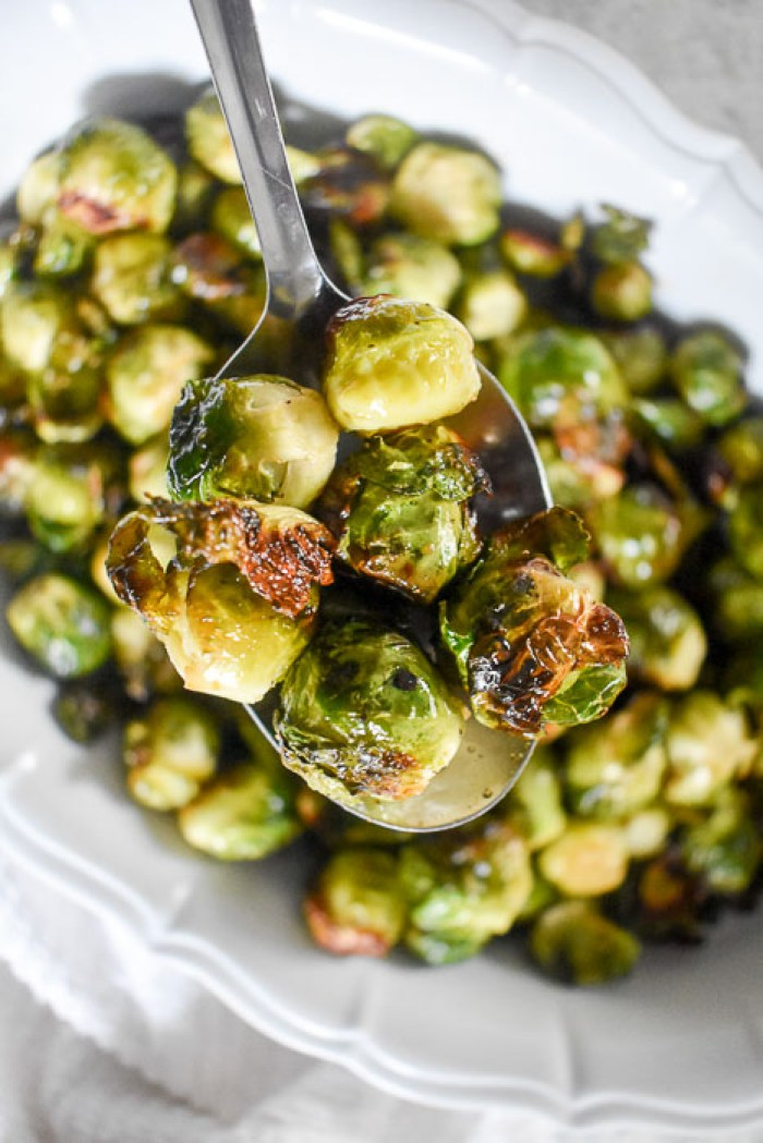 maple roasted brussels sprouts on serving spoon