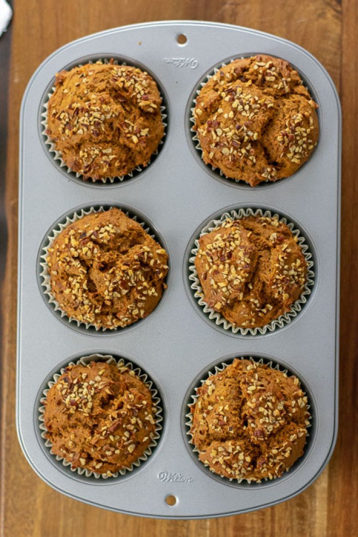 six jumbo sweet potato muffins in wilton muffin pan