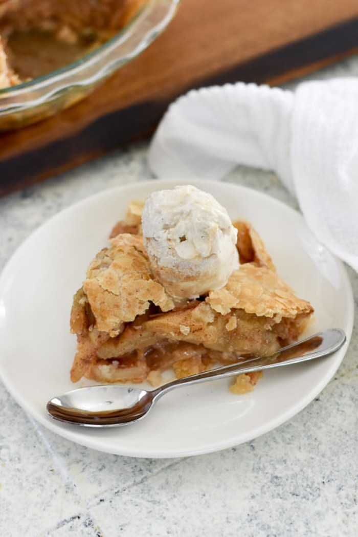 slice of caramel apple pie topped with Talenti vanilla caramel gelato