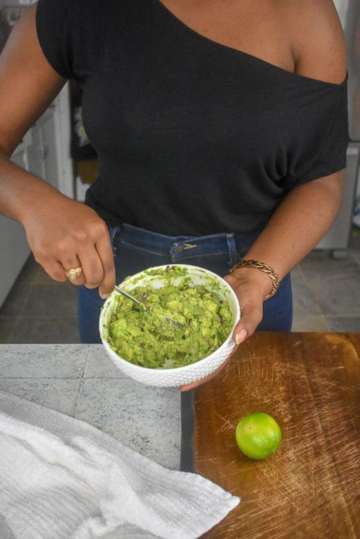 mixing bowl of fresh guacamole