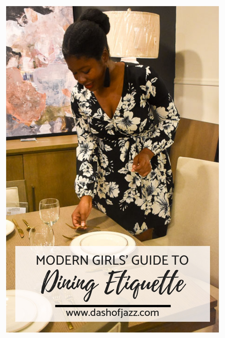 Practical answers to reader-submitted questions about dining etiquette to help you navigate anything from a company dinner to a fancy first date from Dash of Jazz #dashofjazzblog #etiquetteforalady #etiqueteandmanners